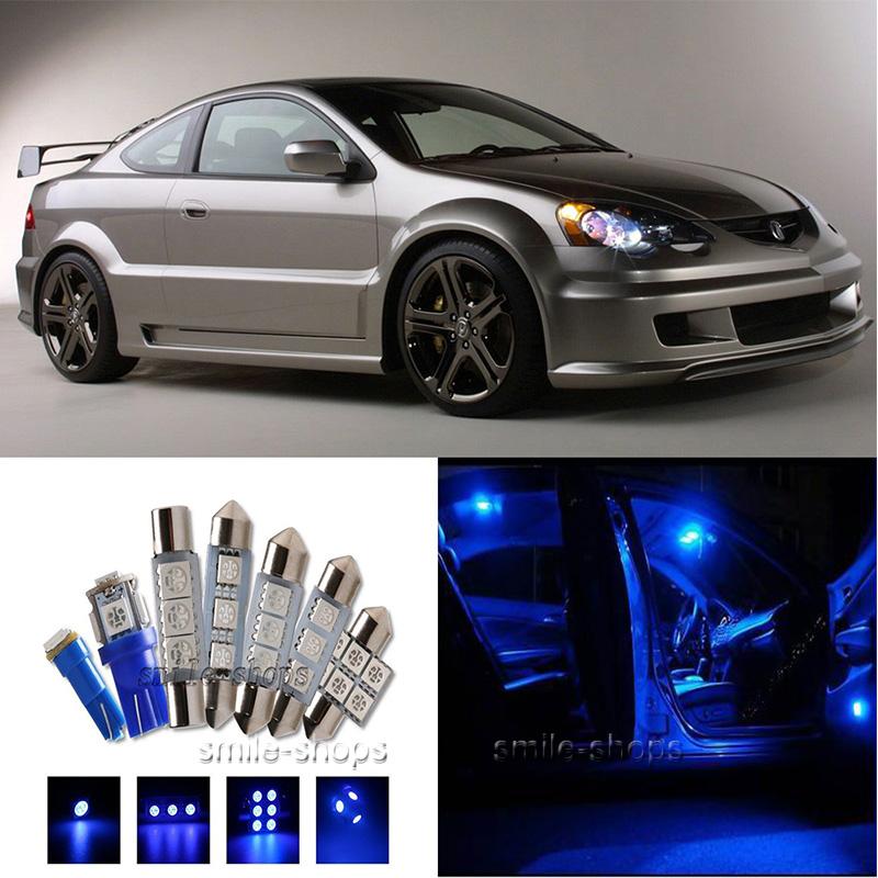 8×Blue LED Interior Light Package Kit For Acura RSX 2002