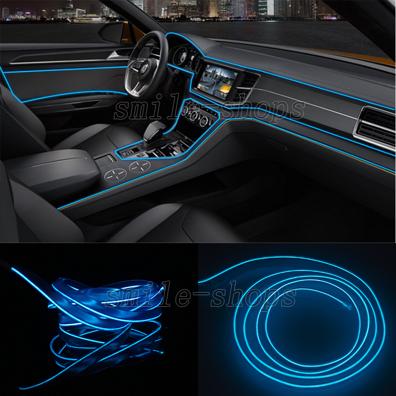 2M Blue Neon LED Light Glow EL Wire Car Strip Atmosphere Cold Light ...