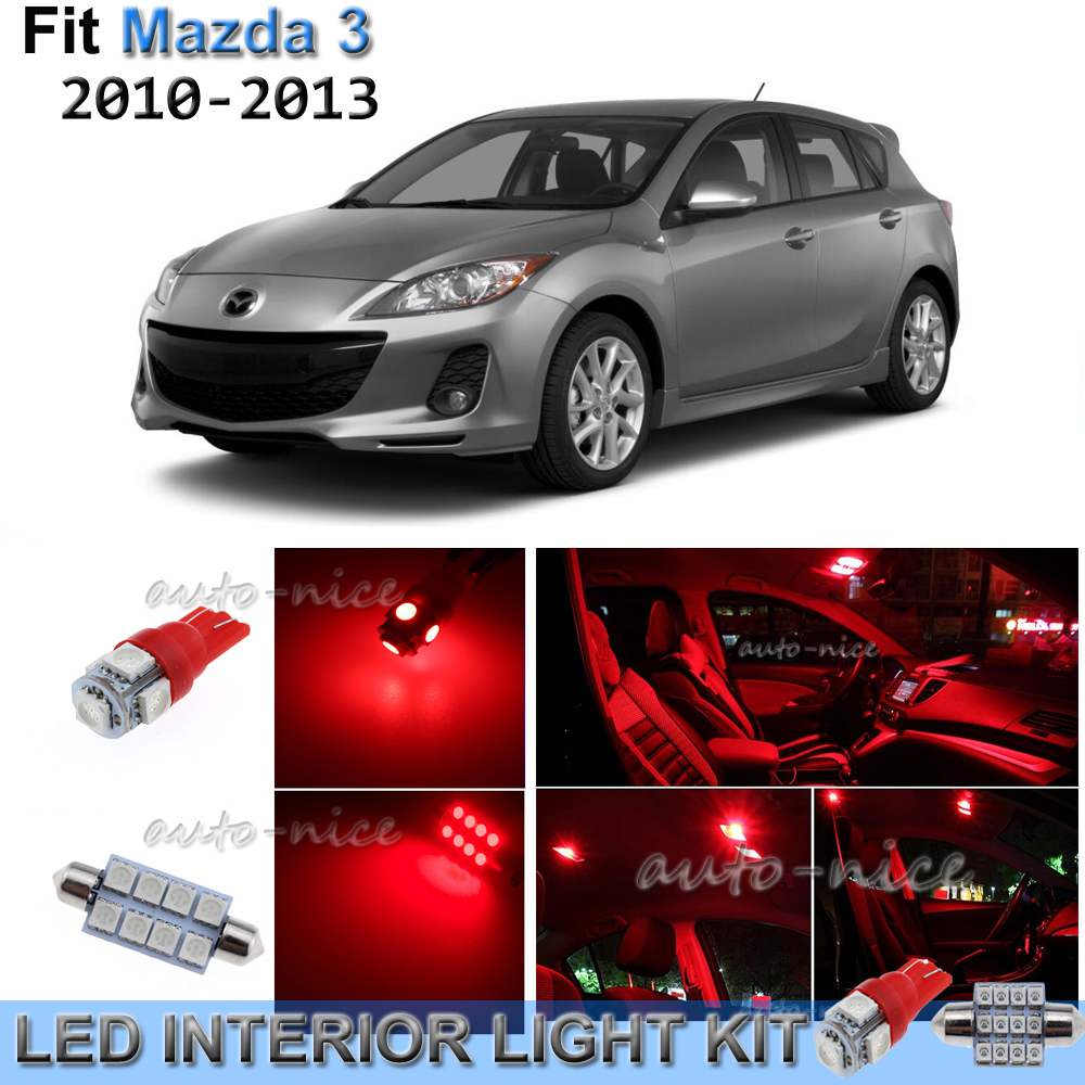 BRISHINE White Interior LED Lights Kit for Mazda 3 Sedan 2010 2011 2012 2013 Super Bright 6000K LED Interior Light Bulbs Package License Plate Lights and Install Tool