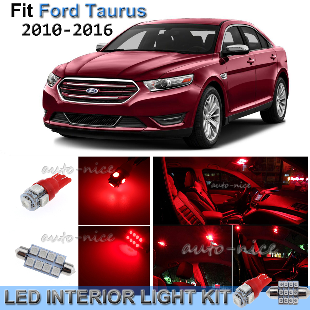 Details About For 2010 2016 Ford Taurus Brilliant Red Interior Led Lights Kit 9 Pieces