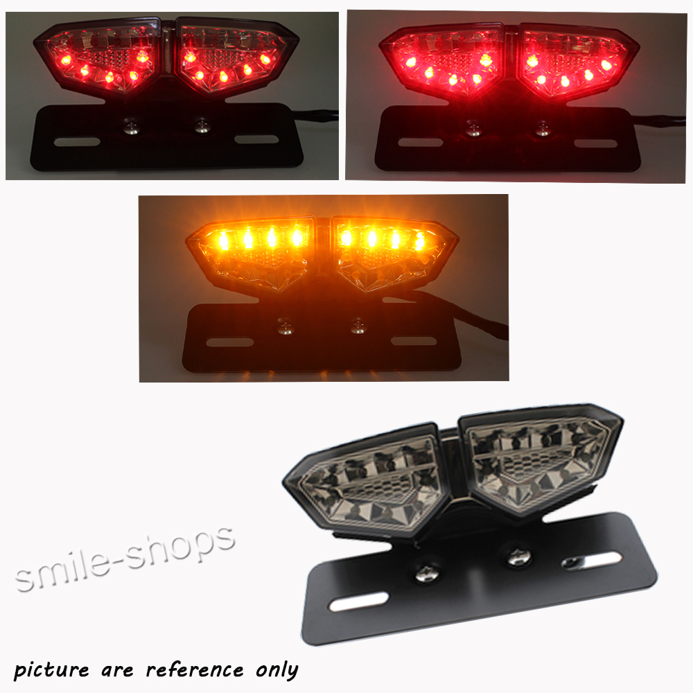 12V Smoke 18LED Motorcycle Brake Tail Turn Signal License Plate Integrated Light