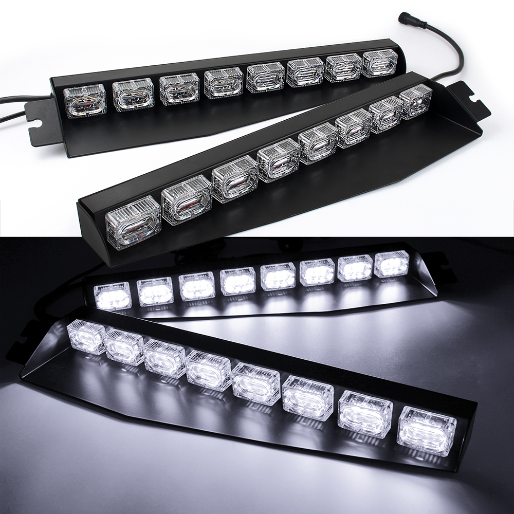 Details About 34 48 Led Car Emergency Warning Visor Split Deck Fash Strobe Light Bar White