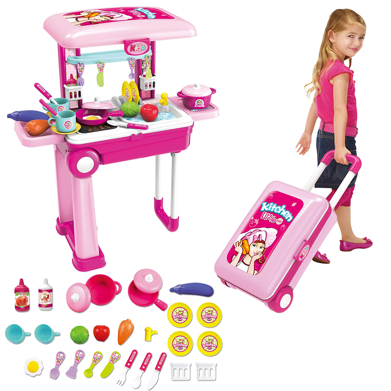 Details about 2 in 1 Travel Suitcase Kitchen Set Children Dishes ABS Chef  Toy Pretend Play Kit