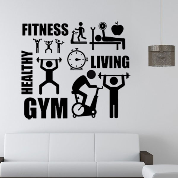 fitness sports logo wall sticker healthy art mural decal home gym