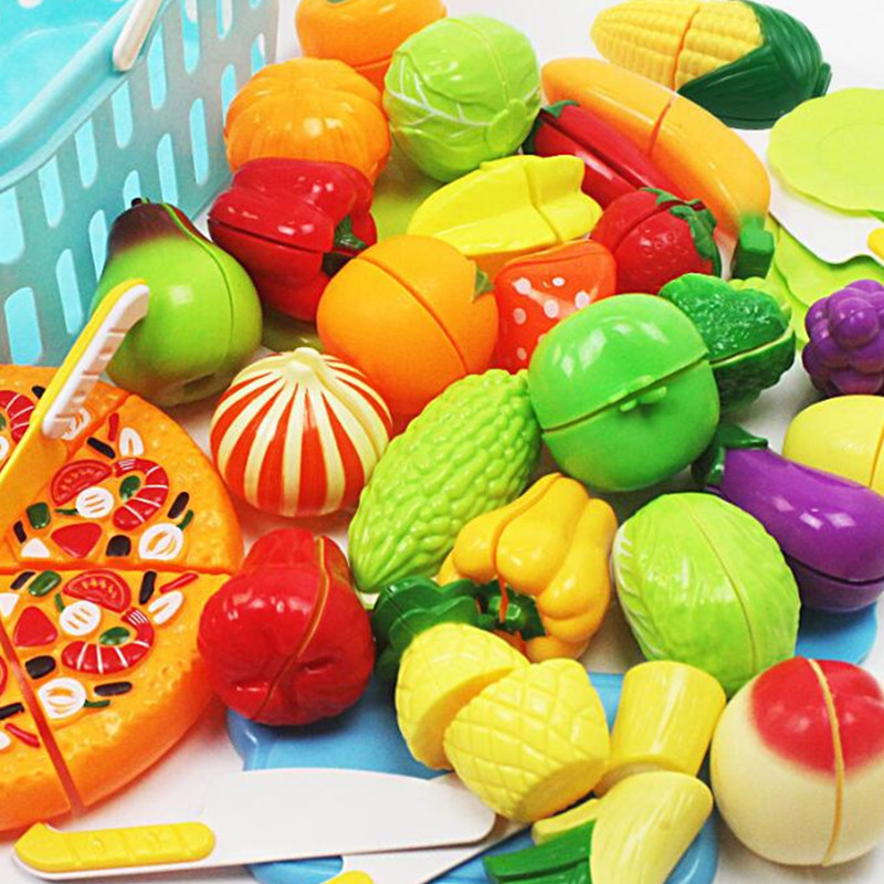 34pcs Children/'s Toy Pretend Role Playing Kitchen Pizza Fruit Vegetable Food Set