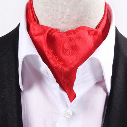 585b2084f535 LJ03-11 Solid Red Flowers Mens Stain Silk Ascot Tie Cravat Self Tied ...