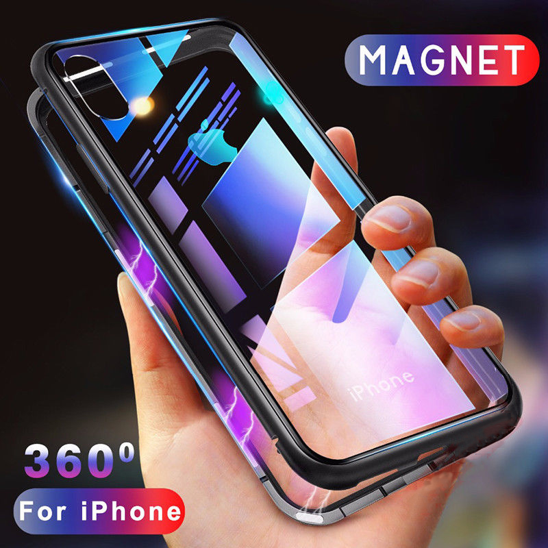 huge selection of 1470f 9a167 Details about For iPhone XS Max 6 7 8 Magnetic Adsorption Metal Flip  Tempered Glass Case Cover