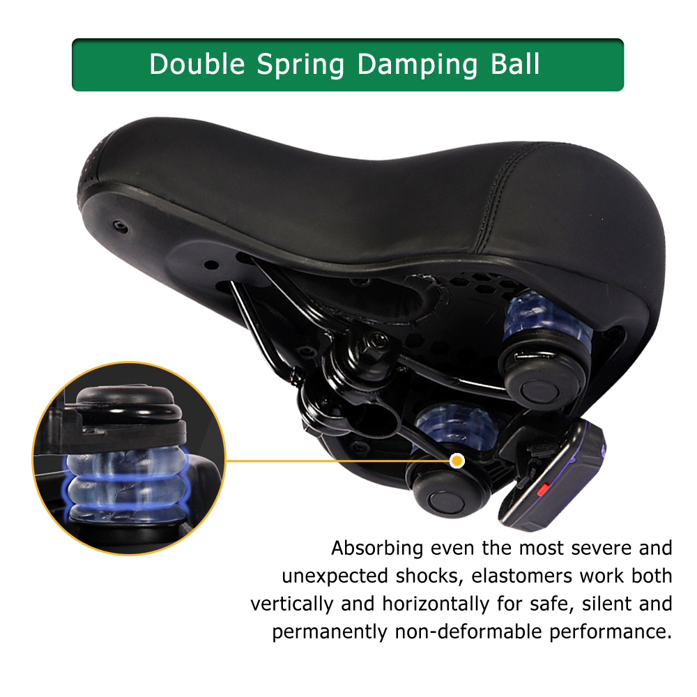 Bike Saddle Super-Soft Comfortable Leather Shock Absorption Widened Bicycle Seat