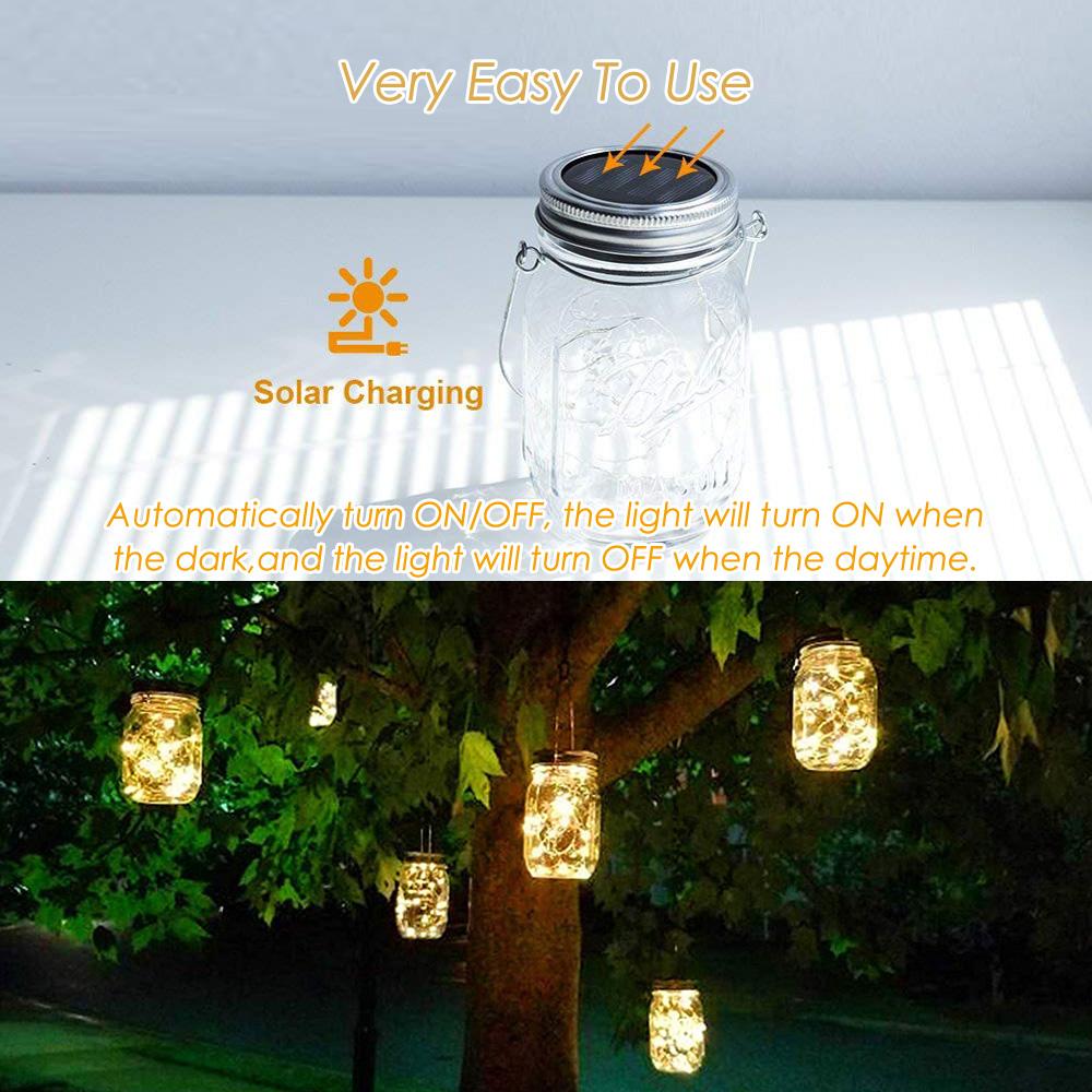 4 6pack Solar Mason Jar Lights 20led