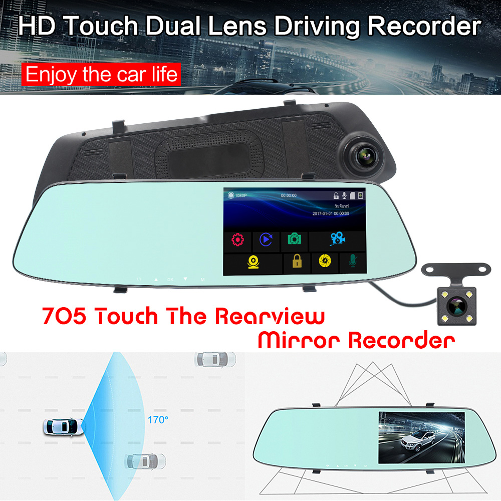 Full Hd 1080p Car Dvr Dual Lens Touch Rearview Mirror Dash