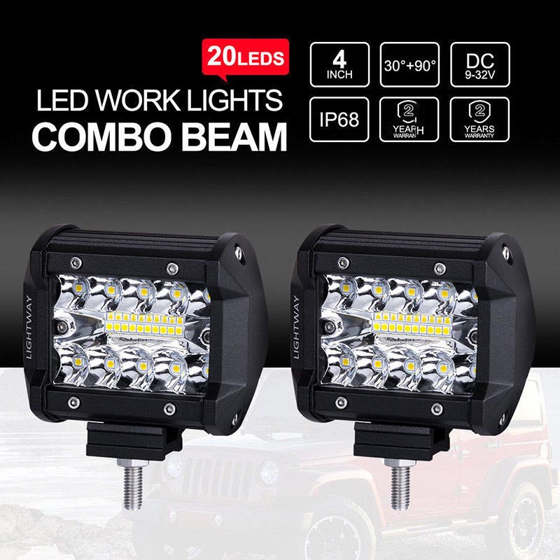 "High Power 200w 20 Inch Jeep Accessories Led Light Bar For: 2pcs 200W 4"" 20 LED Work Light Bar Off Road Spot Flood 4x4"