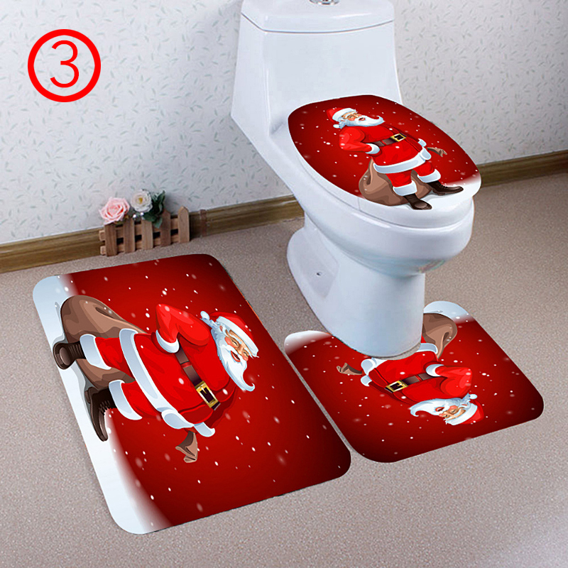 toilet seat covers uk. 3 Pcs Set Happy Santa Toilet Seat Cover  Rug Bathroom