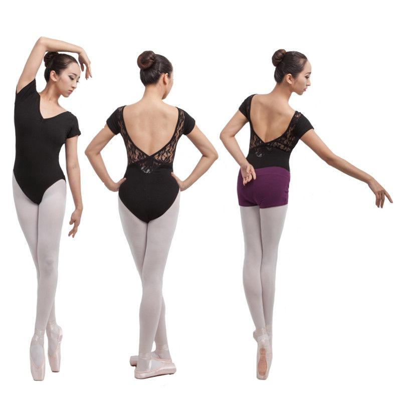 f9e829ad7626 Details about Girls dance tights ballet practice clothes black Dance Leotard