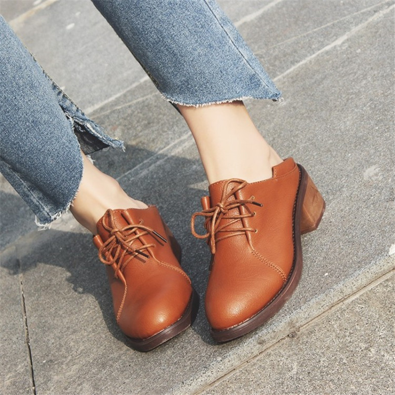 Women/'s Block Chunky Mid Heels Oxfords Round Toe Solid Casual Low Top Shoes Size