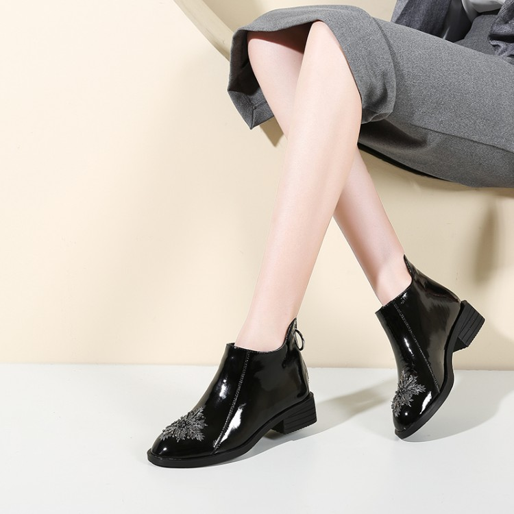 Womens Retro Square Toe Zip Front Med Block Heels Ankle Riding Boots Shoes A727