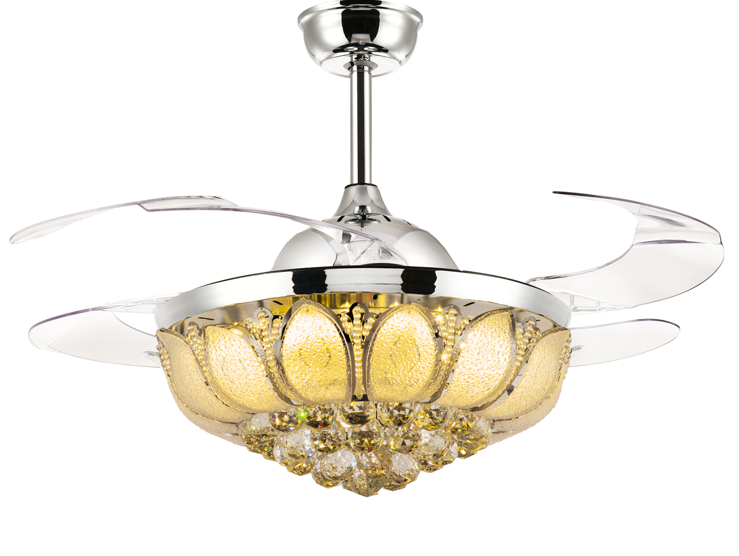 36 Quot Invisible Crystal Chandelier Ceiling Fan With Lights And Retractable Blades Ebay