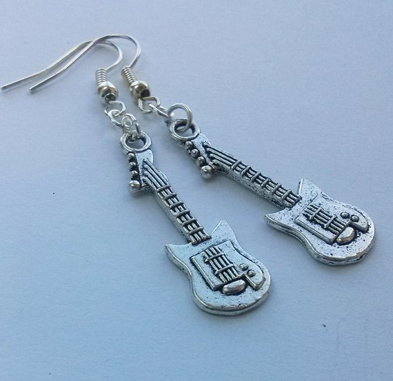 Silver Plated Drop Earrings Guitars Brand New