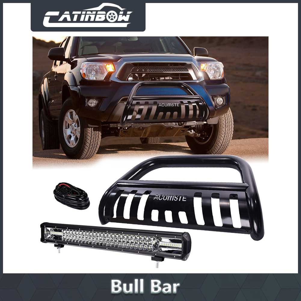 """BLK BULL BAR GRILL GUARD + 22"""" 648W LED Work Light + Wiring Harness For  Tacoma"""