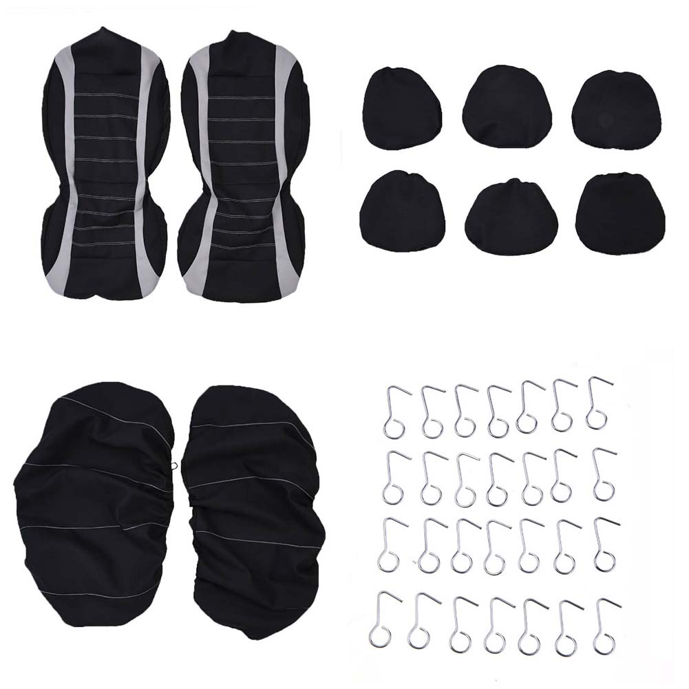 Car Seat Full Covers Gray Black Set For Auto W Steering