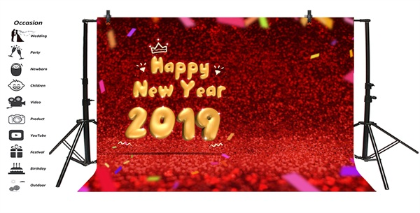 Happy New Year 2019 Background Backdrop 7x5ft Background Vinyl