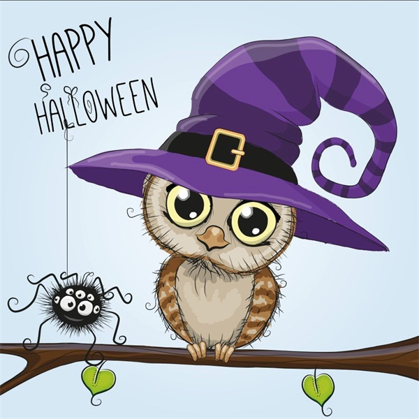 Details about Halloween Owl Cartoon Background Photo Backdrop New  Photography Background