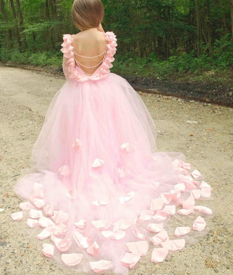 US Seller Wedding Flower Girl Party Princess Petals Pageant Dress-Many Colors
