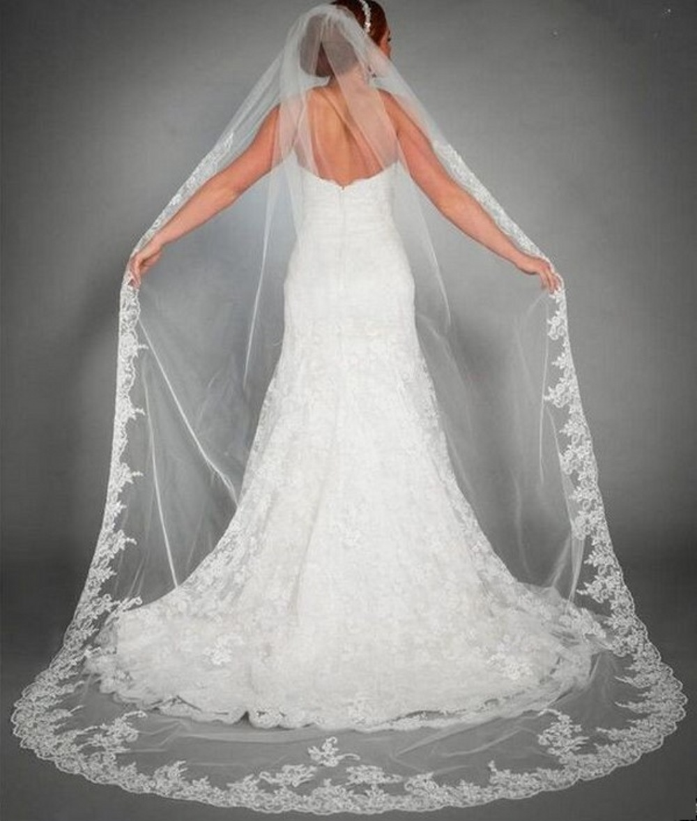 Comb 1 Layer White Cathedral Length Lace Edge Bride Wedding Bridal Long Veil
