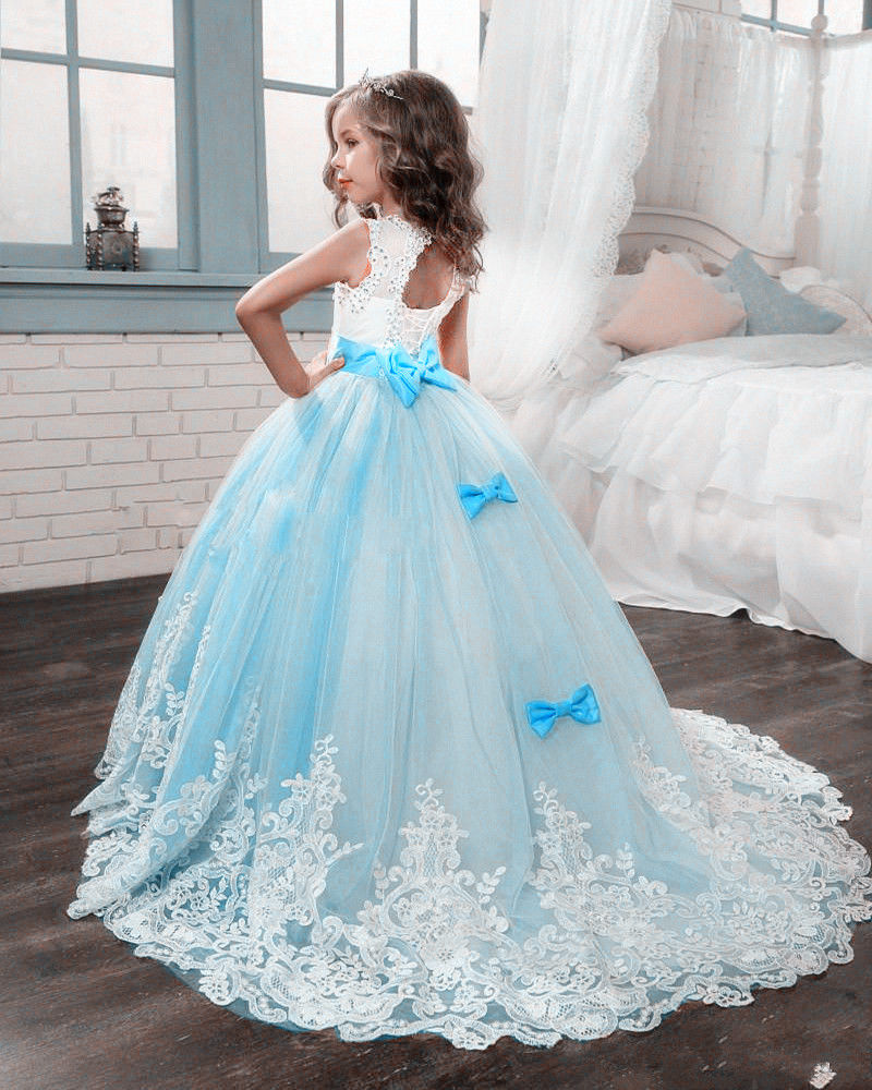 Details about Wedding Kids Flower Girl Dresses First Communion For Party Princess Bridesmaid