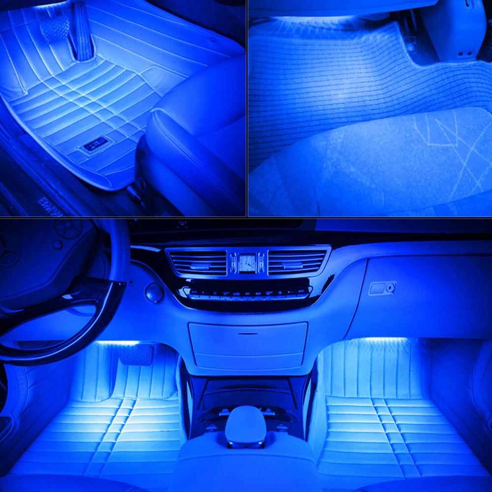 4 rgb 12 led strips 7 colors remote control car interior floor atmosphere light. Black Bedroom Furniture Sets. Home Design Ideas