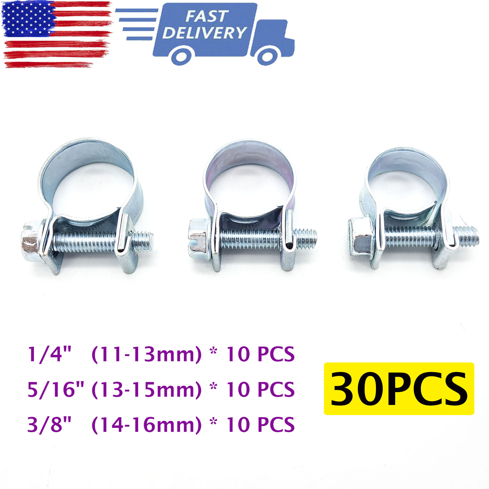1//4, 5//16, 3//8 New Fuel Injection Hose CLAMP//AUTO Fuel Clamps 30PCS