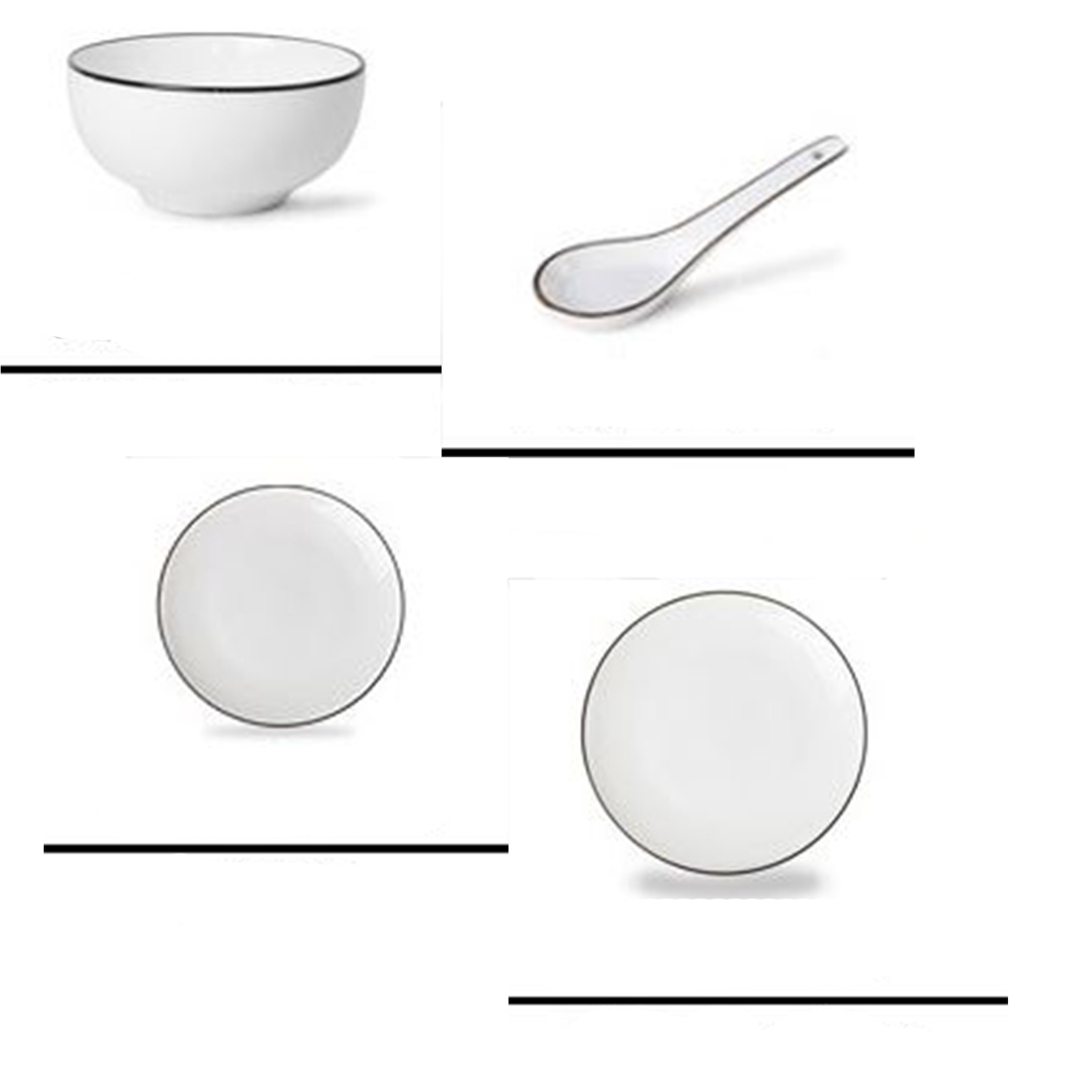 9PCS Simple Dinnerware Set Kitchen China Bowls Dishes Scoop Dining ...
