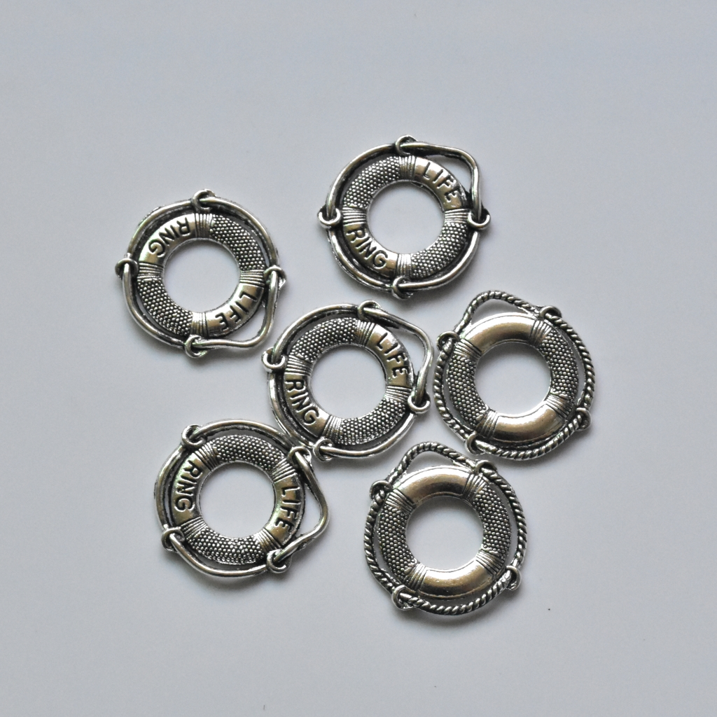 10X Tibetan Silver Life Buoy//Ring Charm Pendant For DIY Bracelet//Necklace Craft