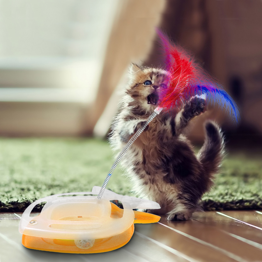 Cat Track And Chase Toy Pet Kitten Ball With Feather