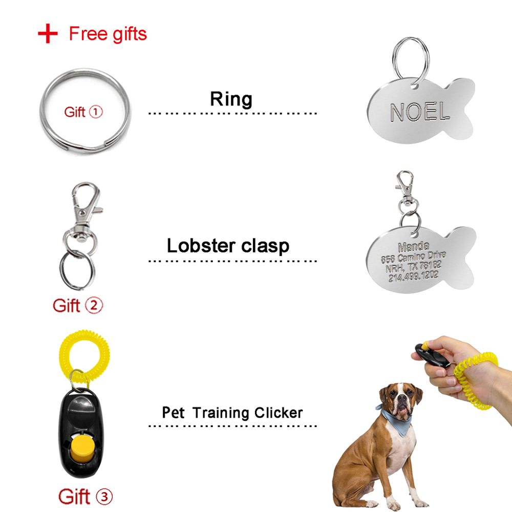 Fish Type Engraved Dog Tags Custom Cat Name Collar Tags Personalized FREE Gift