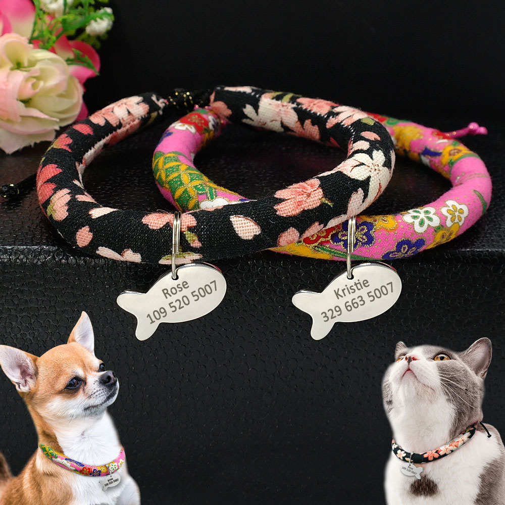 personalized dog cat collars custom pet dog name tags for puppy