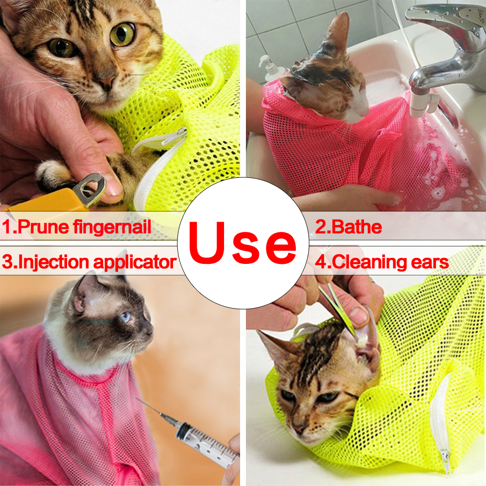No Scratching Mesh Cat Bathing Bag Restraint Nail Trimming