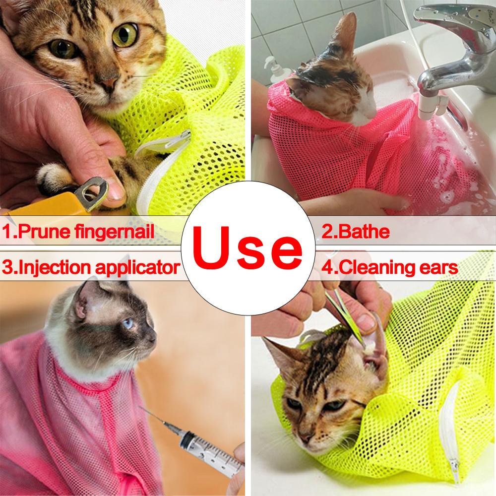 No Scratching Mesh Cat Bathing Bag Restraint Nail Trimming