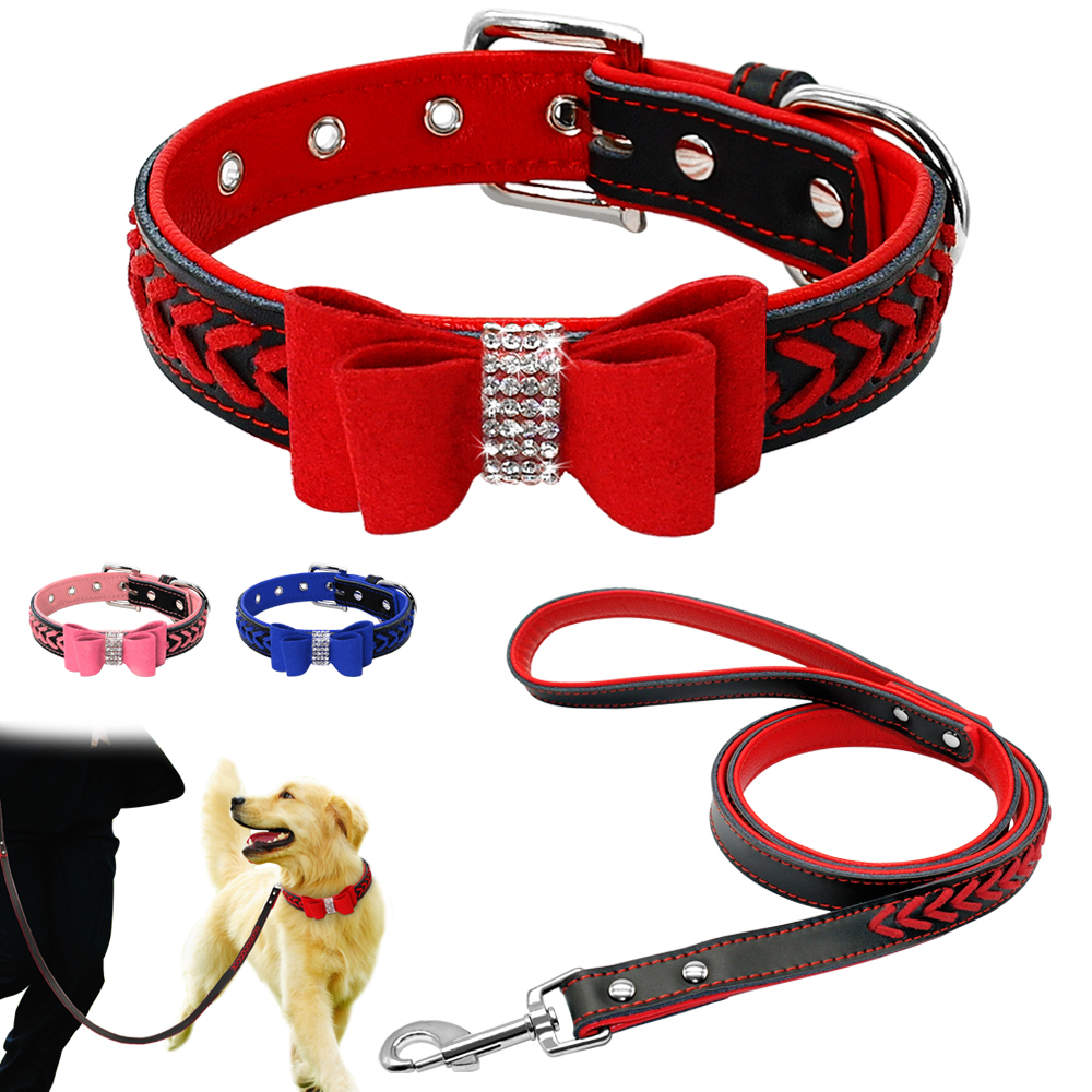 Bling Personalized Leather Small Pet Collar Leash