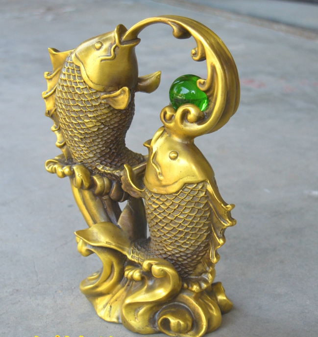 Chinese Antiques Brass Casting Squid Play Beads Statue Ebay
