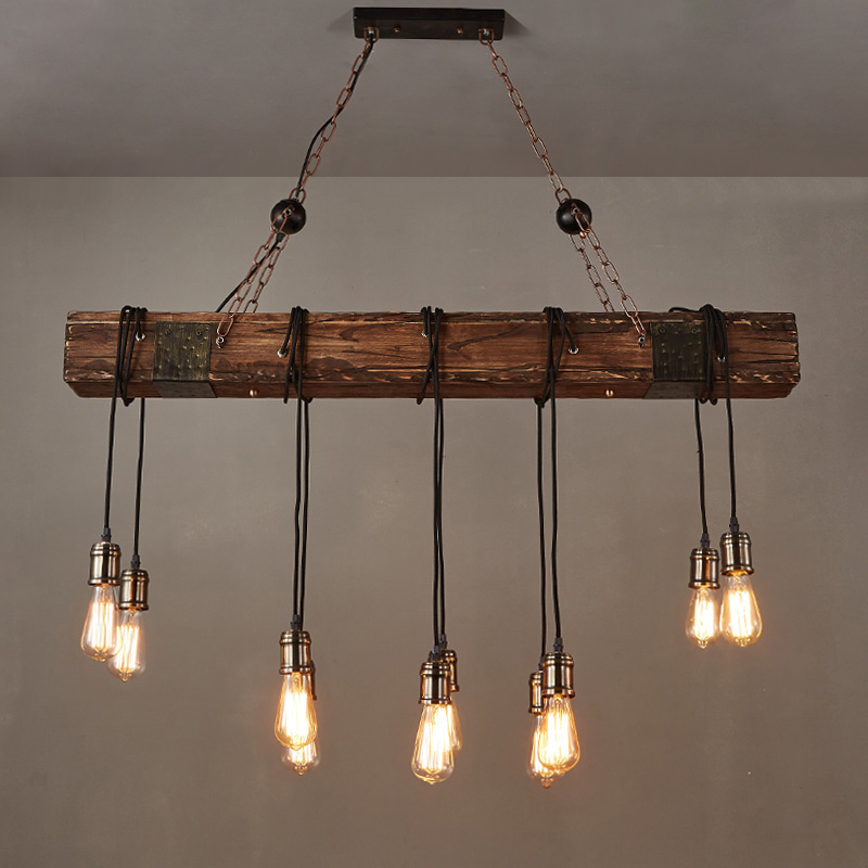 Farmhouse Style Pendant Light Wood Beam Large Linear