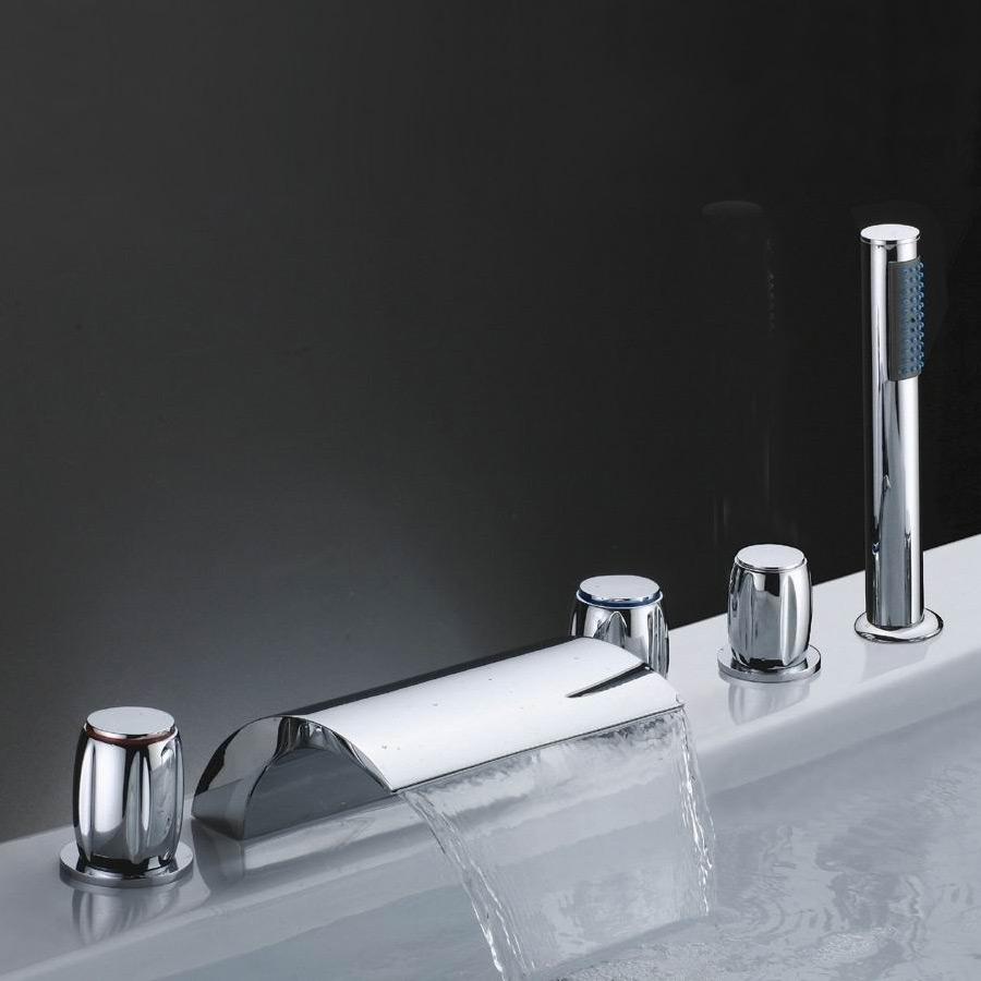 Victoria Waterfall Roman Tub Mixer Faucet Filler 5 Hole Deck Mount ...