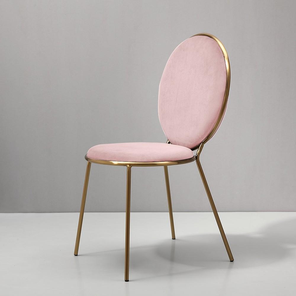 Homary Pink Velvet Upholstered Gold Dining Chair Living ...