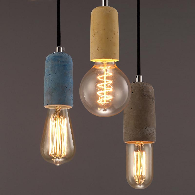 Rustic Concrete Exposed Edison Bulb Vintage LED Pendant