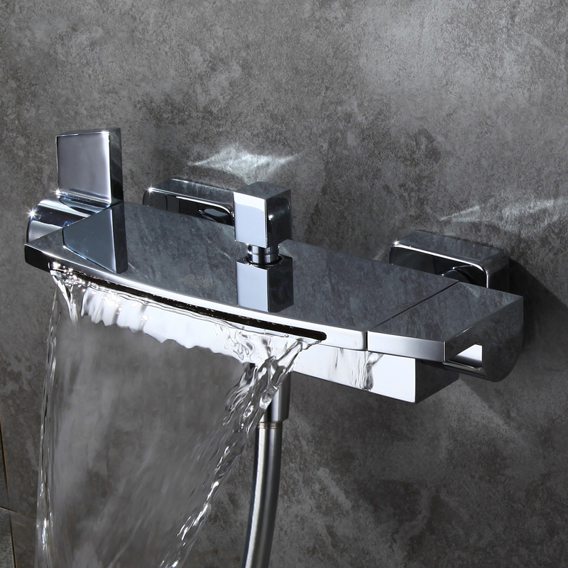 Modern Brass Wall Mount Waterfall 2 Handle Bathtub Filler