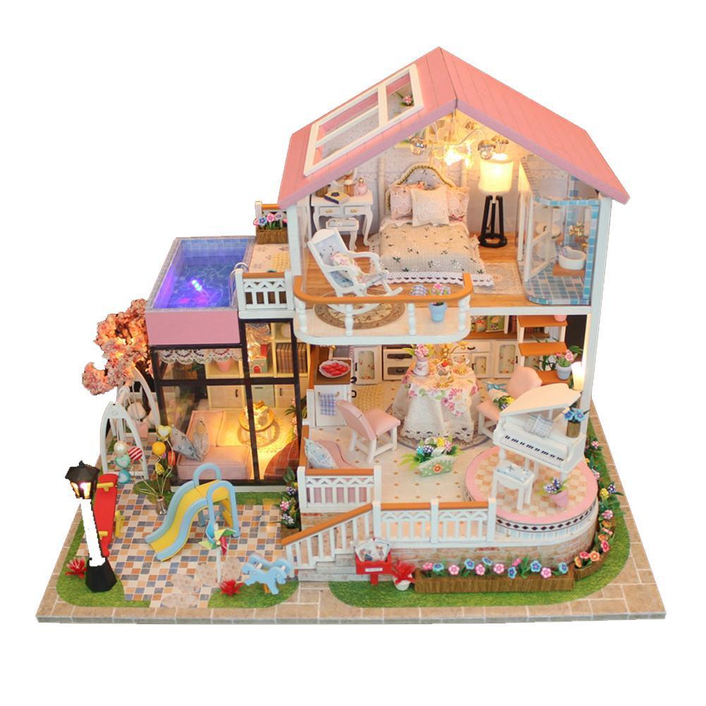 Diy Handmade Kids Doll House With Furniture Staircase Fits Barbie