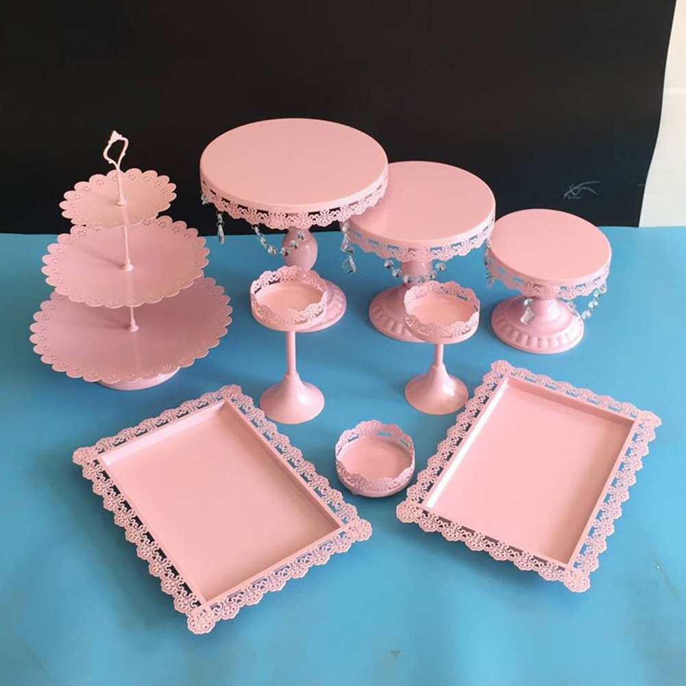 6/7/12/14PCS Pink Wedding Dessert Tray Cake Stand Cupcake Pan Party ...
