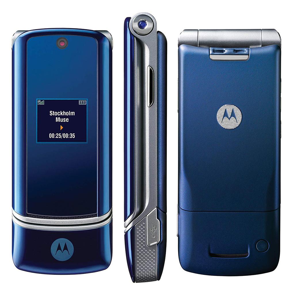 Unlocked Motorola KRZR K1 Blue Mobile Phone Flip Russian/Hebrew/Arabic  Keyboard