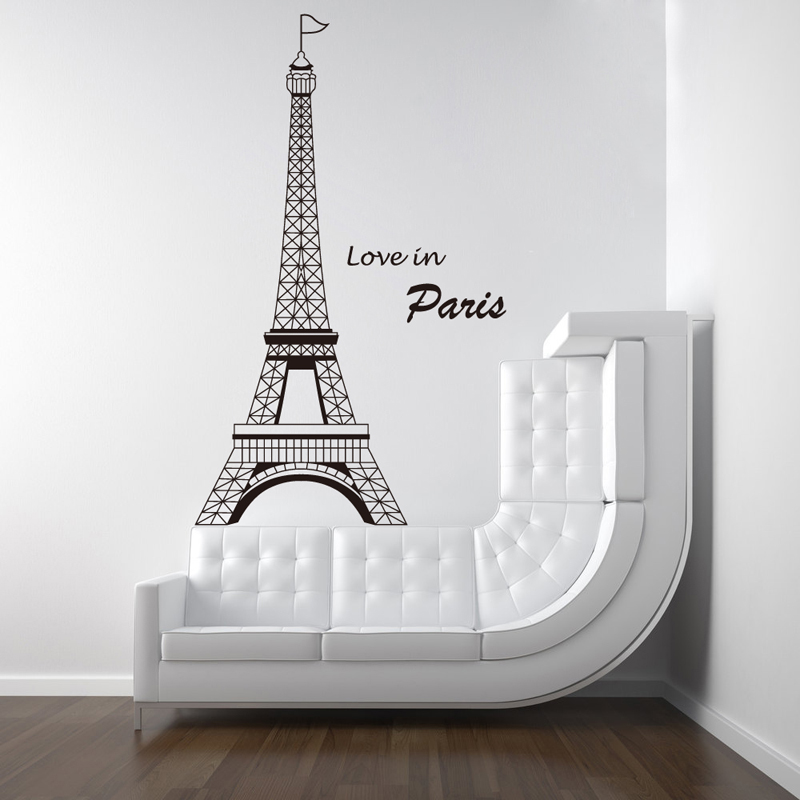 eiffel tower love in paris wall sticker decal kids bedroom home