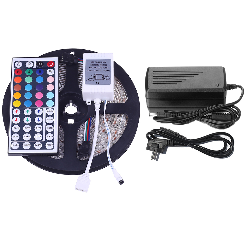 5050-RGB-LED-Flexible-Bande-Lumiere-Etanche-44key-IR-Controleur-12V-Adaptateur