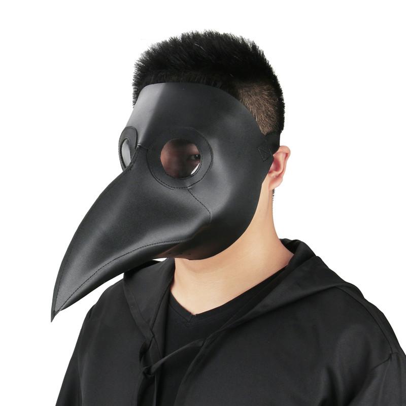 Black Plague Doctor Mask Birds Long Nose Beak Faux Leather